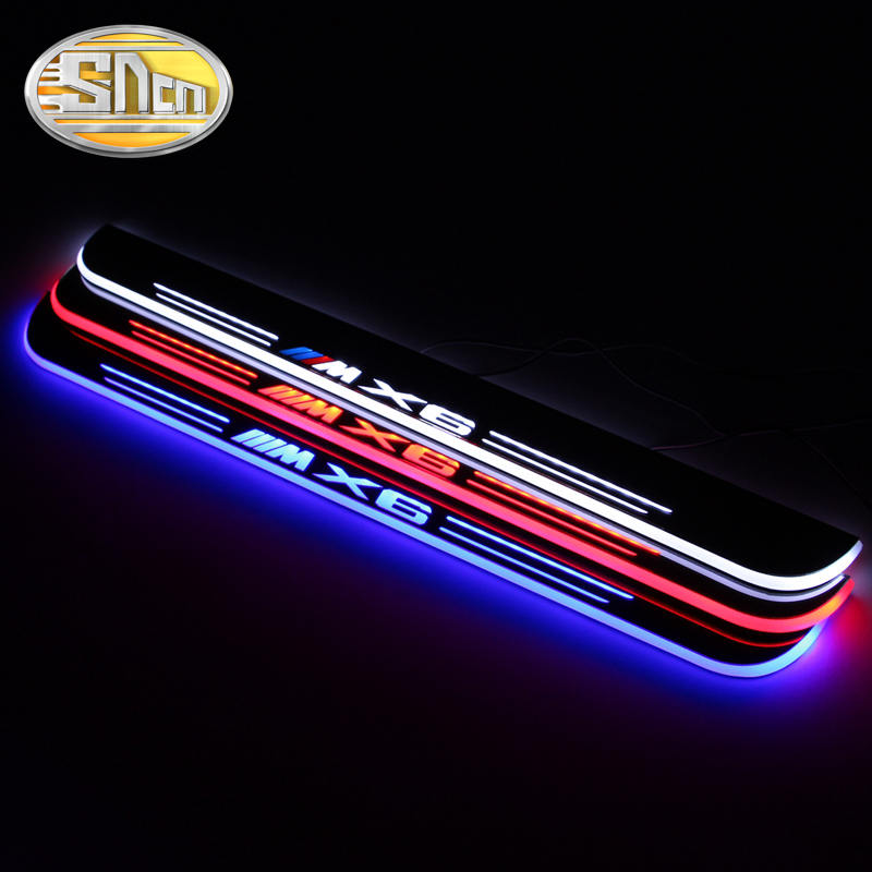 SNCN Waterproof Acrylic Moving LED Welcome Pedal Car Scuff Plate Pedal Door Sill Pathway Light For BMW X6 E71 2010 - 2015