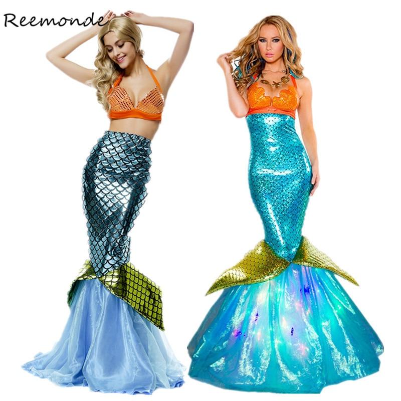 REEMONDE Adult Mermaid Movie Cosplay Costume Mermaid Role Playing Bikini For Women High Waist Swimsuit Halloween Masquerade