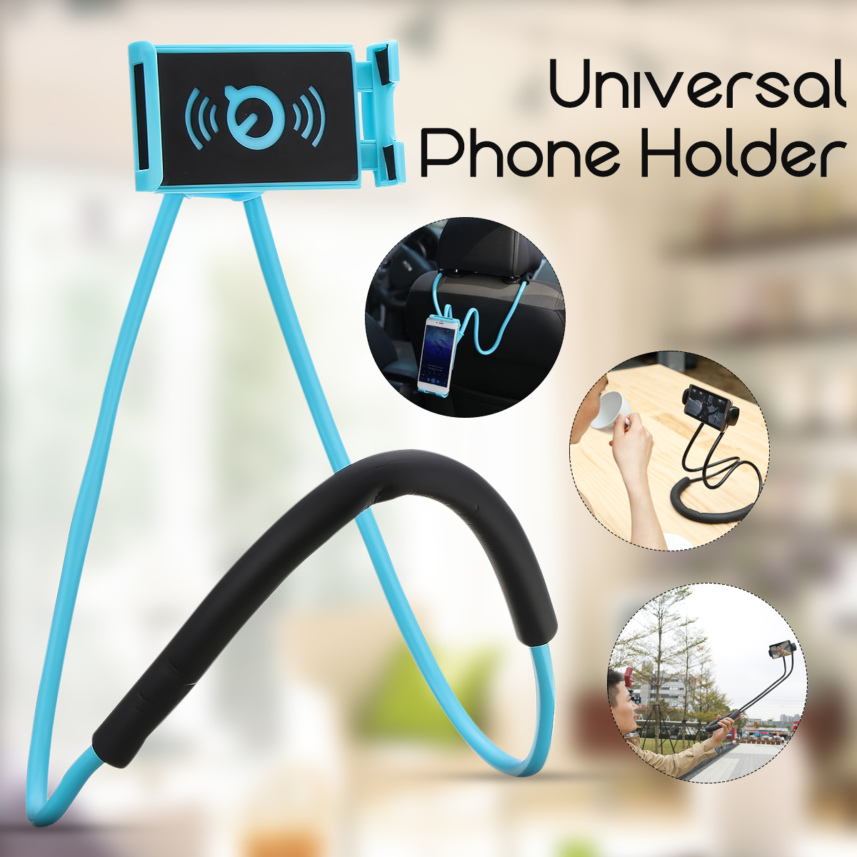 360 Rotation Flexible Cell Phone Selfie Neck Holder Stand Lazy Hanging Neck Phone Stands Tablet Stand Holder For iPad For Iphone lazy neck holder stand for iphone desk 360 degree rotation mobile phone mount bracket cell holder stand
