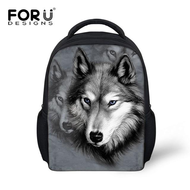 0e39230387a Animal School Bags for Kindergarten Zoo Wolf Pug Dog Print Kids Schoolbag  Boys Children Casual Book Bags Mochila infantil Bolsas