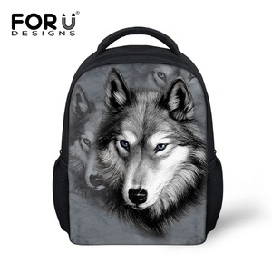 Animal School Bags for Kindergarten Zoo Wolf Pug Dog Print Kids Schoolbag Boys Children Casual Book Bags Mochila infantil Bolsas
