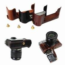 Klasyczny futerał ze skóry PU torba na aparat Fujifilm Fuji X T10 XT10 X T20 XT20 X T30 XT30 zestaw niepełnego etui z otworem na baterie