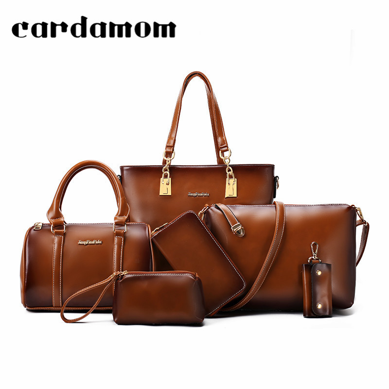 6Pcs/Set PU Leather Women Composite Bag Vintage Style Women Handbag Messenger Bag Fashion Big Capacity Shoulder Bag Purse Wallet 6 pcs set women handbag scrawl composite bag stone women messenger bags shoulder bag purse wallet fashion pu leather handbags