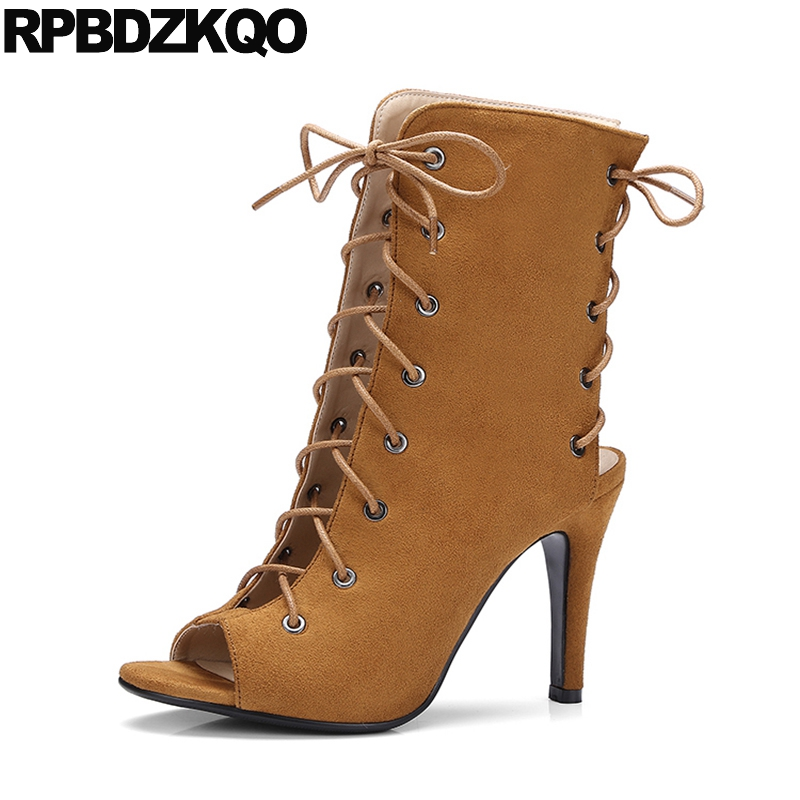 European Open Toe 2017 Sandals Stiletto Suede Designer Boots Brown Ankle Slingback Lace Up Sexy Extreme Luxury Brand Shoes Women