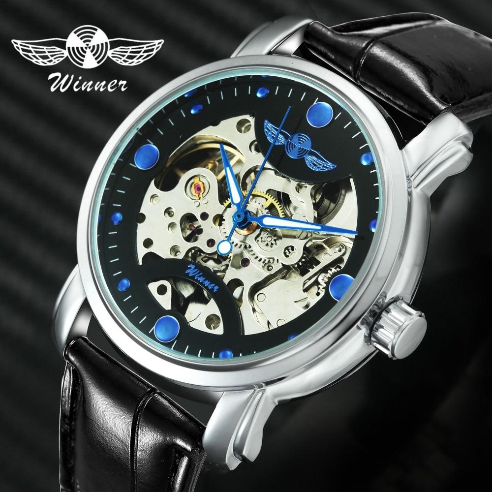 WINNER Fashion Men's Automatic Mechanical Watch Skeleton Dial Leather Watchband Luminous Hands Top Luxury Brand Design + BOX