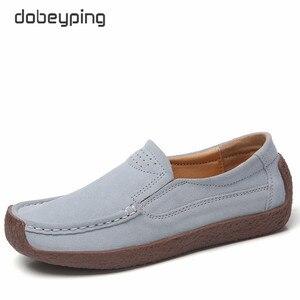 Image 5 - Dobeyping baskets en daim pour femmes, chaussures de printemps automne sans lacet, chaussures plates en cuir de vache, mocassins, décontracté