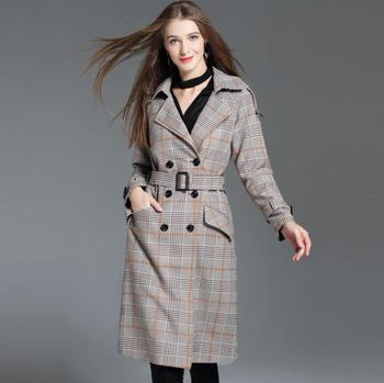 European spring ladies trench coat for women long sleeves coats womens casaco feminino female overcoat woman Plaid clothes belt