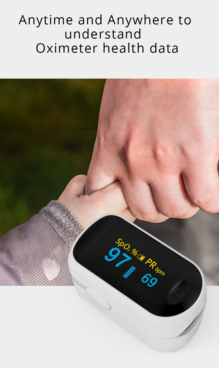 Oxímetro de pulso portátil médico oled pulsioximetro