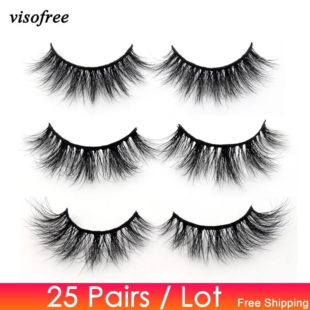 Visofree 25 Pairs/lot Mink Lashes 3D Mink Eyelashes Cruelty Free Lashes Handmade Reusable Natural Eyelashes Makeup False Lashes
