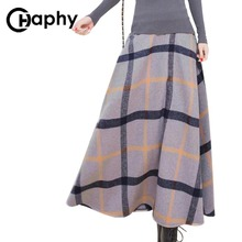 Winter Long Plaid Skirt Women Vintage Thick Plaid Wool Skirts High Waist Big Swing Fashion Maxi Skirts Women Winter Plaid Skirt(China)