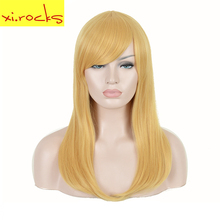 3108 Xi. Rocks Woman Wig Long Straight Ombre Brown With Bangs Heat Resistant Hair Synthetic Wigs For Women 50 cm