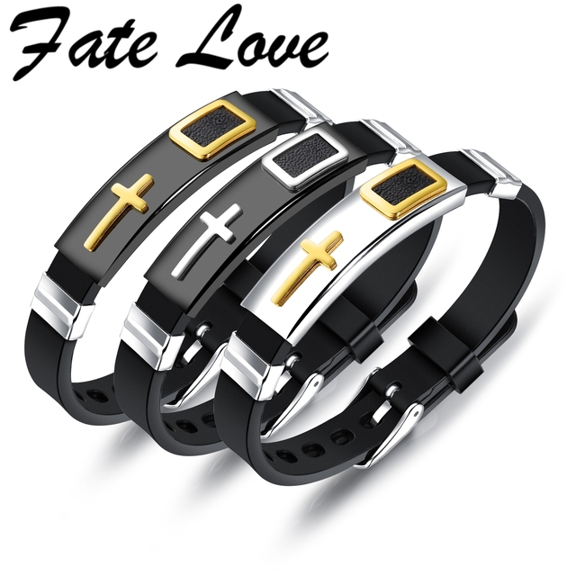 Fate Love Punk Cross Bracelet Men Silicone Strap Band Stainless Steel  Black/Gold Color Male Wrap Bracelet Friendship Gift FL1247-in Wrap  Bracelets