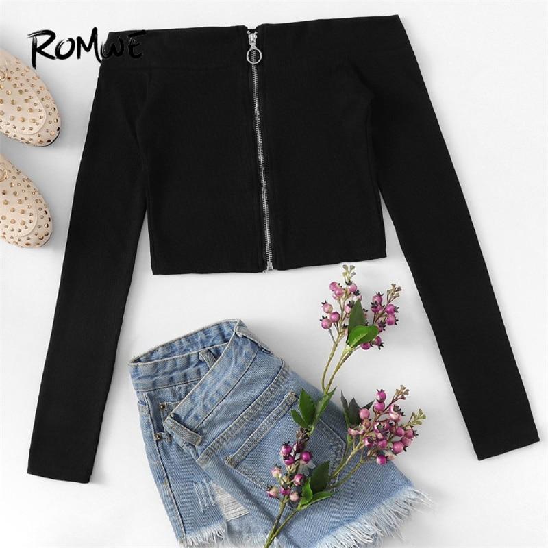 833174c48837c ROMWE Off The Shoulder Tops For Women Black Zip Up Tee Shirt Femme 2019  Spring Slim