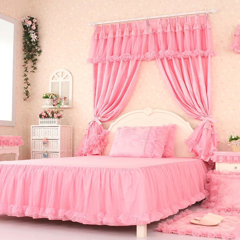Luxury Curtains For Living Room Pink Lace Cortinas Tulle Sheer ...