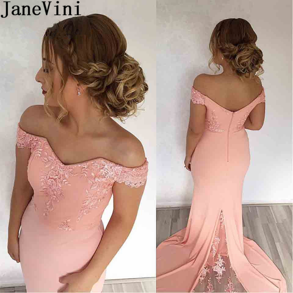 JaneVini Off Shoulder Blush Pink Long   Bridesmaids     Dresses   Mermaid Lace Prom Formal Gowns Sweep Train Ladies Wedding Guest   Dress