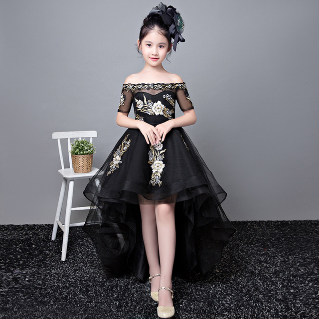 Royal Princess Dress Tail Party Shoulderless Flower Dresses Ball Gown Kids Pageant Birthday S