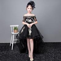 Royal Princess Dress Cocktail Party Shoulderless Flower Girl Dresses Ball Gown Kids Pageant Dress Birthday Girls Prom Dress B57
