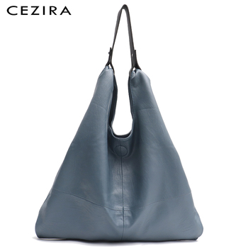 CEZIRA Large Hobo Bags Women Vegan Leather Shoulder Bags Soft High Quality PU Fashion Casual Style Ladies handbags Shopping Bags