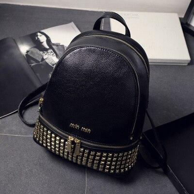 Women Men Girl PU Leather Backpack Bag School College Shoulder Travel Rucksack
