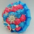 Индивидуальные Бирюзовый & Коралловый розовый Искусственный свадебные букеты из бисера кристалл ювелирные изделия перлы королевский синий цветок свадебные букеты