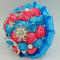 Customized Turquoise Blue & Coral pink Artificial wedding bouquets bead crystal pearl jewelry royal blue flower bridal bouquets