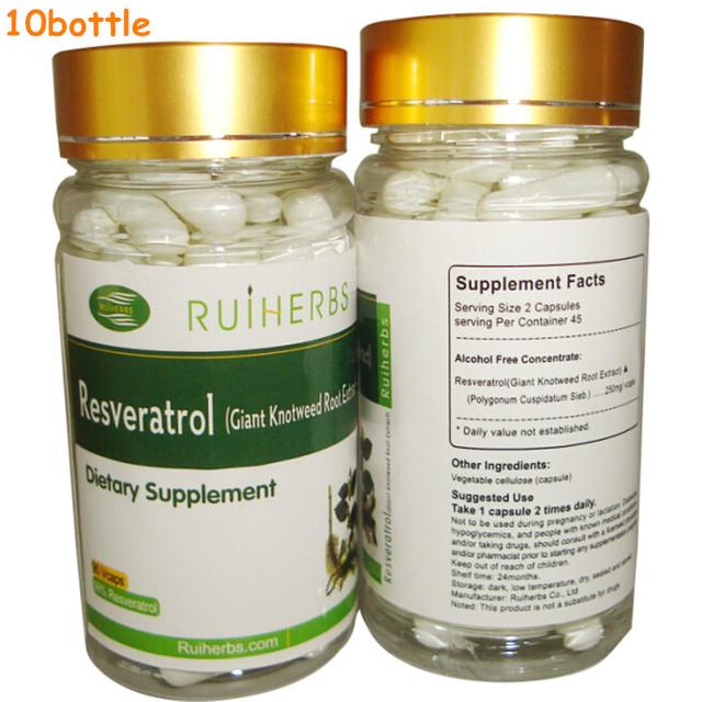 10 Botellas de Resveratrol Cápsula 500 mg x 900 unids para Máximo Apoyo Anti-Envejecimiento, estimular el Sistema Inmunológico y la Salud Del Corazón
