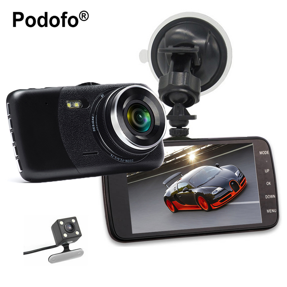 Podofo New Dual Lens Car DVR Cam Dashcam 4 1080P Full HD Video Registrator Recorder With Backup Rearview Camera G-Sensor WDR