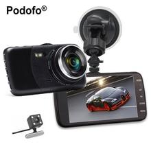 Podofo Новый Двойной объектив Видеорегистраторы для автомобилей Cam dashcam 4 «1080 P Full HD видео регистратор Регистраторы с резервным заднего Камера g -Сенсор WDR