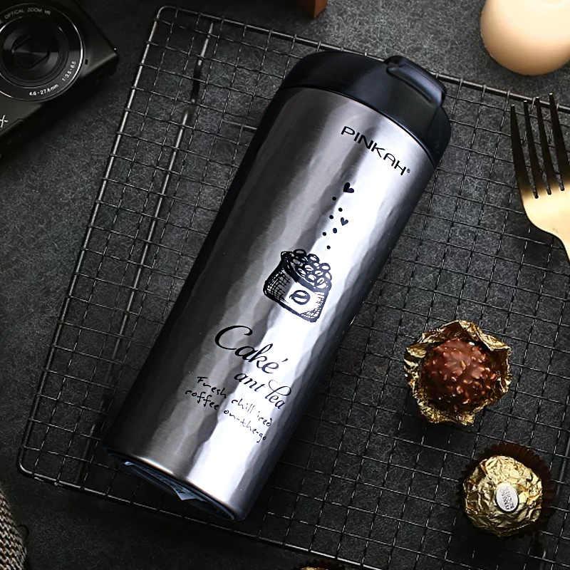 を Pinkah ポータブルステンレス鋼車サーモコーヒーマグ屋外水ボトル旅行マグ魔法瓶茶ミルクマグ