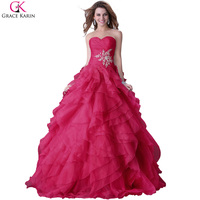 Yellow Prom Dresses Long 2016 Grace Karin Organza Beaded Appliques Ball Gown Fuchsia Blue Long Elegant