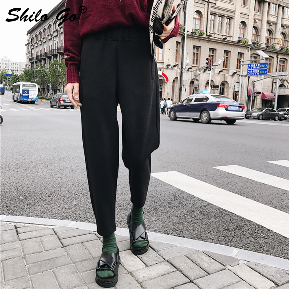 Black Cashmere Harem   Pants   Women Autumn Causal High Waist   Pants   2019 Winter Streetwear Wool Trousers Female   Capris   Dark Grey