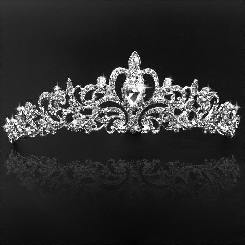 BEAUTIFUL PLAN Women Girls Hairpin Princess Crown Silver Crystal Hair Hoop Jewelry Tiara Headband Hair Accessories