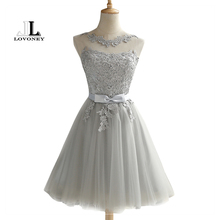 LOVONEY CH604 Short Prom Dresses 2017 Sexy Backless Lace Up Prom Gown Formal Dress Women Occasion Party Dresses Robe De Soiree cheap Above Knee Mini O-Neck Bow Appliques Sashes Regular None Polyester Natural Sleeveless Tulle A-Line Plus Size Custom Made Size