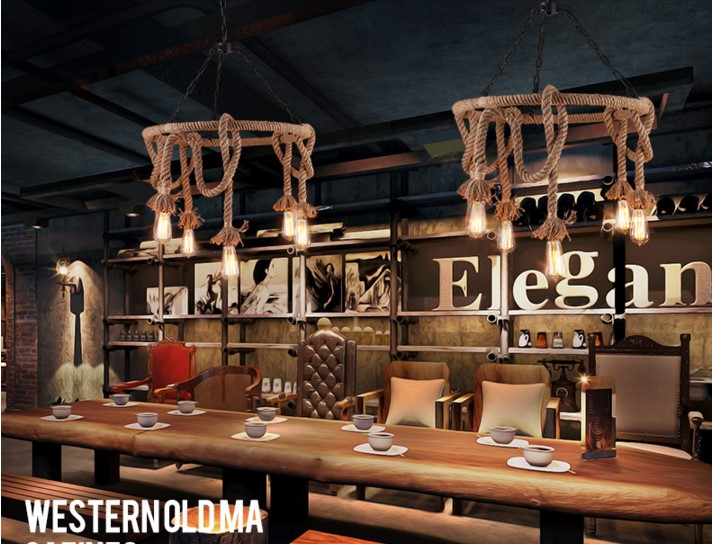 Nordic Rustic Vintage Industrial Lighting Edison Pendant Light Fixtures With 6 Lights Hemp Rope Loft Lamp Hanglamp Lamparas 6 heads e27 sockets nordic industrial edison chandelier vintage pendant lamp loft antique adjustable diy home lighting w o bulb