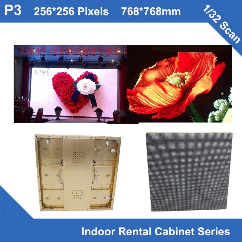 TEEHO P3 indoor Golden brushed Aluminum Cabinet 768mm*768mm 1/32 scan video wall videotron rental fixed wedding school even show ...