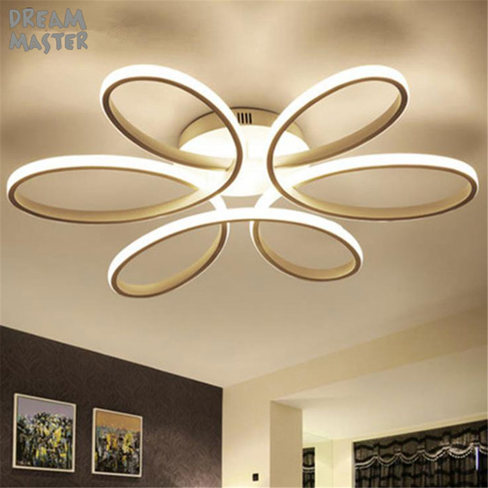 Modern led ceiling lights for living room bedroom white acrylic flower ceiling lighting fixtures d58cm 75w d74cm 93w led lamp