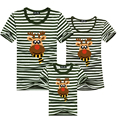 New Family Matching Clothes Boys Girls Stripe T-Shirts Deer Mother and Daughter Clothes Mother Father Son Outfits Baby T Shirts