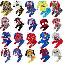 Детская Хлопковая пижама союз Мстителей, Человек-паук, Бэтмен, Супермен, комплекты одежды для сна пижамы с героями мультфильмов для маленьких мальчиков и девочек, одежда для сна