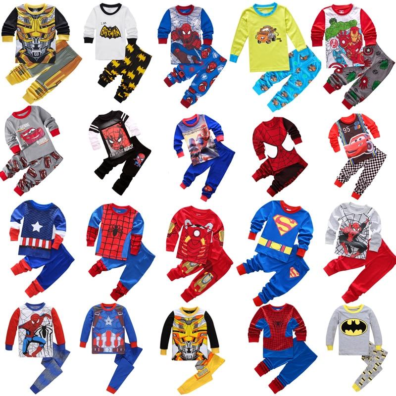 Kids Cotton Pajamas Avenger Alliance Spider-Man Batman Superman Sets Sleepwear Baby Boys Girls Cartoon Pijamas Nightwear Clothes