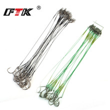 20pcs 20cm Stainless Steel Wire Fly Fishing Leash With Hook Lead Core 40-80LB Pike Anti-bite