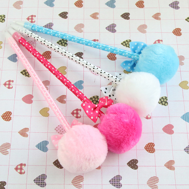 4  Pcs / Pack , Student Prizes Creative Promotional Pens, Balls Plush Ballpoint Pen, Cute Ball-Point Pens School Supplies