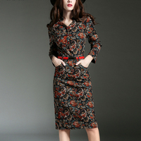 NGreat Quality Allover Printing Wrist Sleeve V Neck Cultivate Cotton Vintage Printing Dress Suits H285