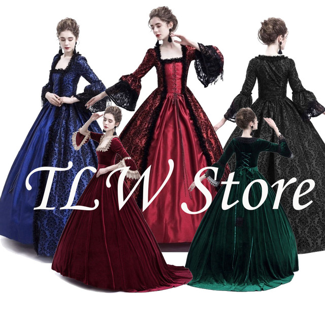 4e7a1a2411b5df Palace Court Princess Dress Thin Elegant Ball Gown Square Collar Lace  Halloween Costumes Renaissance Medieval Dress Adult Woman