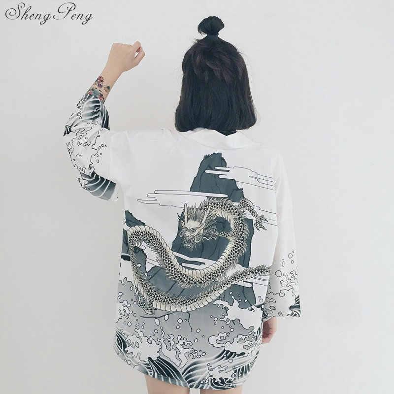 יפני קימונו חולצה חוף קימונו קרדיגן נשים קיץ מסורתי יפני קימונו יאקאטה יפני המסורתי קימונו Q140