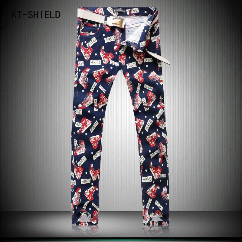 New Korean Style Mens Fashion biker jeans Sneakers 3D Printing Designer Skinny Jeans men Straight Slim Fit joggers cargo pants