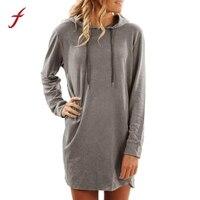 FEITONG Womens Casual Dress Fashion Solid Long Sleeve Hoodie Sweatshirt Straight Mini Dres Autumn Winter Cotton