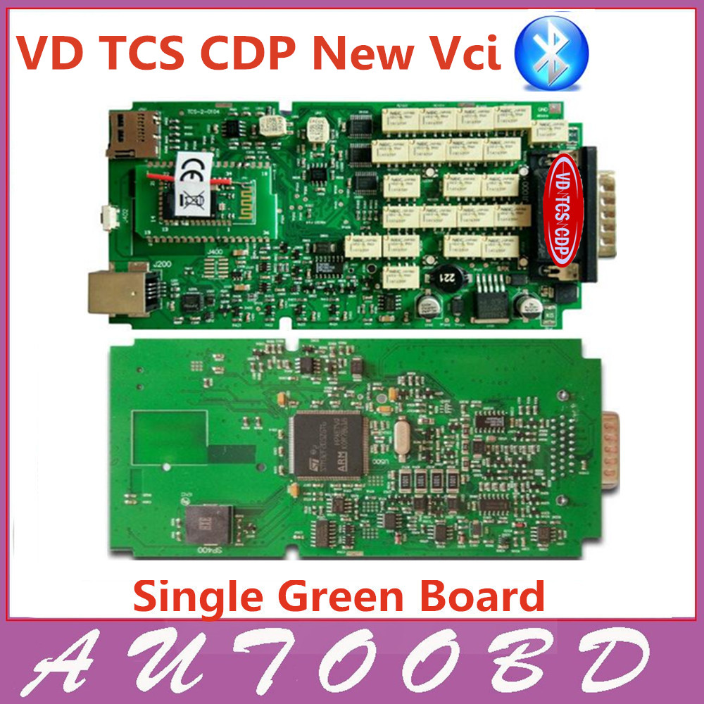 Quality A+++! VD TCS CDP Single Green PCB Board with Bluetooth Auto diagnostic Scanner NEC Chip with full software +Cover Case ! single green board multidiag pro 2014 r2 keygen