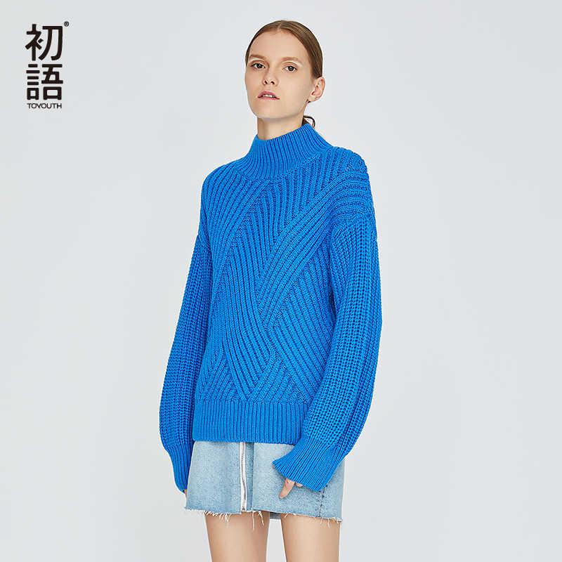 Toyouth タートルネック女性固体セーター特大長袖ツイストプルオーバー冬のセーター、カジュアルジャンパーセーター Mujer