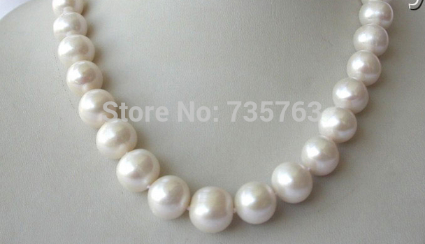 HOT stunning big 11-12mm round white freshwater cultured pearl necklace free shipping stunning big 12mm baroque white freshwater cultured pearl necklace