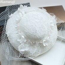 Wedding Hats For Women Vintage Net Bridal B White Accessorie Brides Fascinator Sinamay Birdcage Veil